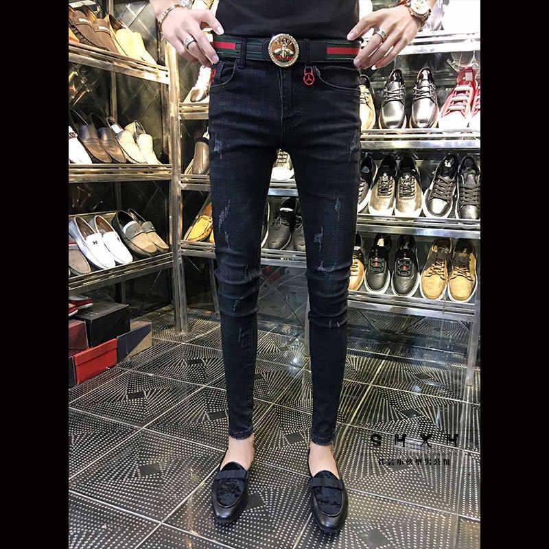 Pantalones Vaqueros Ajustados Para Hombre Moda 2020 Adolescentes Estudiantes Social Chico Gato Pitillo Pantalones Vaqueros Aliexpress