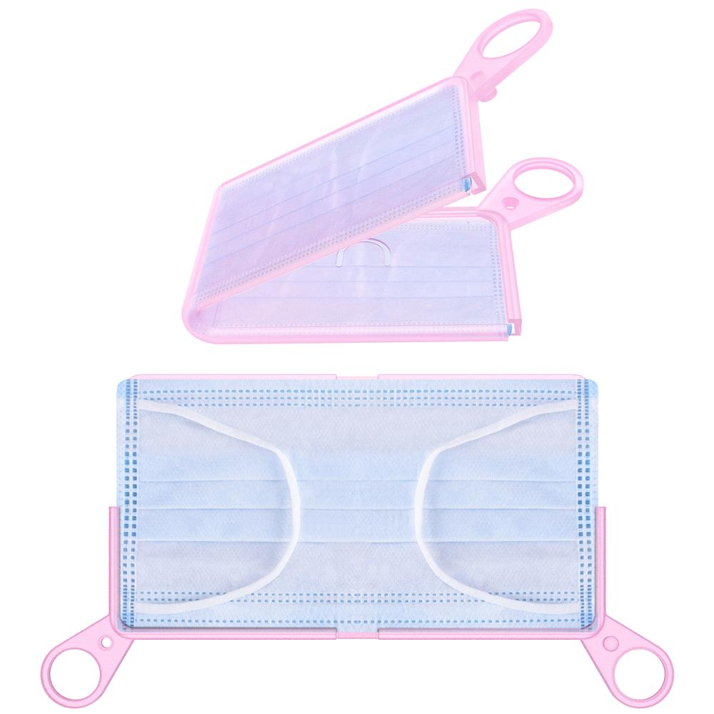 Portable Silicone Mask Storage Clip Foldable Face Mask Temporary Recyclable Storage Bag Box Plastic Mask Container Candy Color