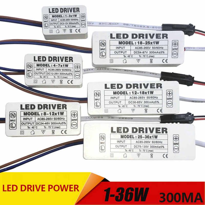 1-3 W, 4-7 W, 8-12 W, 12-18 W, 18-25 W, zasilacz LED 25-36W wbudowany prąd stały oświetlenie AC110-265V wyjście 300mA DC