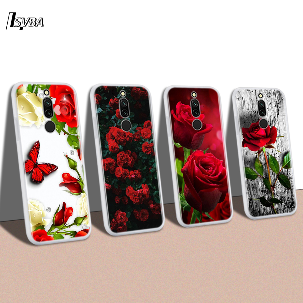 Silicone Cover For Redmi 8A 8 7A 7 Shell Red Roses Flower For Xiaomi Redmi 4X 5A 6 6A S2 K20 GO Pro Phone Case