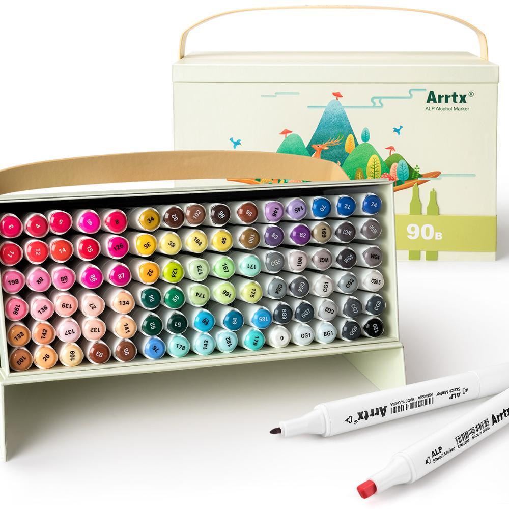 Arrtx ALP 90 цветов Набор спиртовых маркеров, набор маркеров с двумя наконечниками для рисования, эскизов, раскрашивания мультфильмов, проектиро...