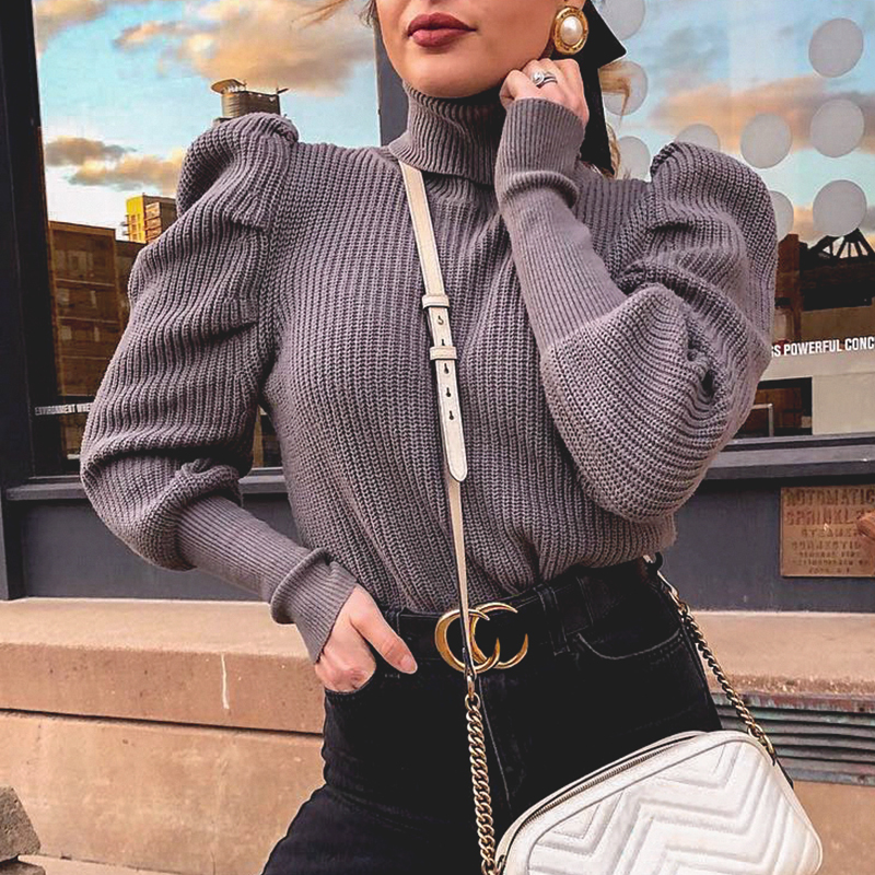 Conmoto 2019 Knitted Winter Turtleneck Sweaters Solid High Fashion Purple  Sweaters Female Jumpers Pullovers Knitwear