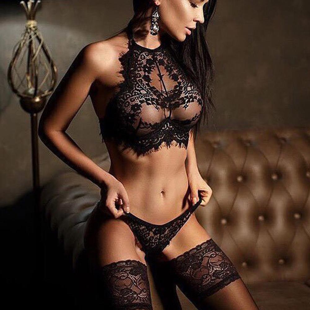 China lingerie underwear sexy black lace transparent feme garter hot girl sexy undergarments