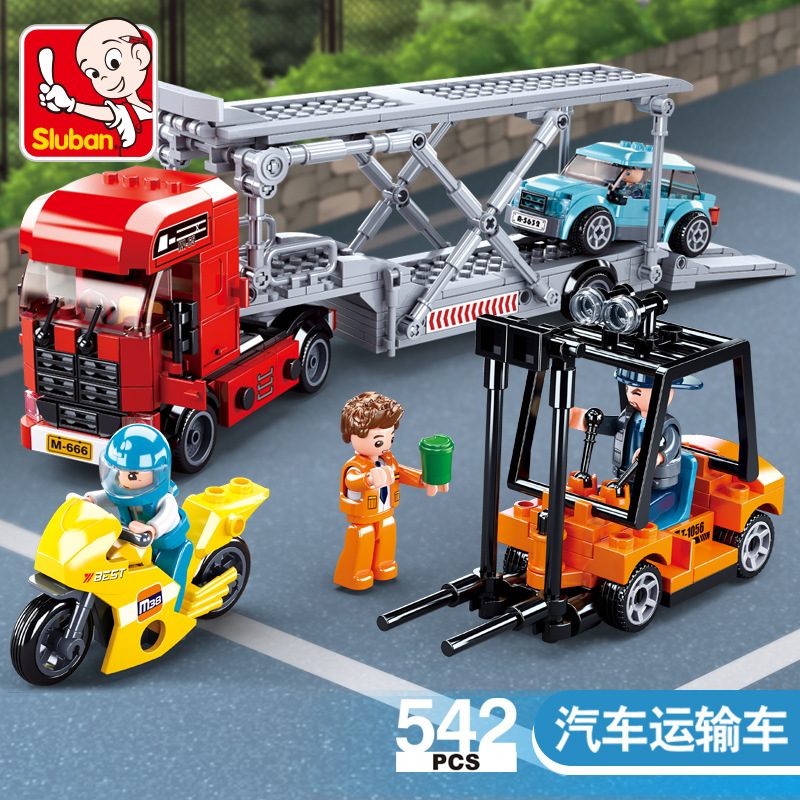 542PCS  SLuban Building Blocks 0880 Car Transporter Forklift Assembly Model Assembly and Assembly Toy Gifts