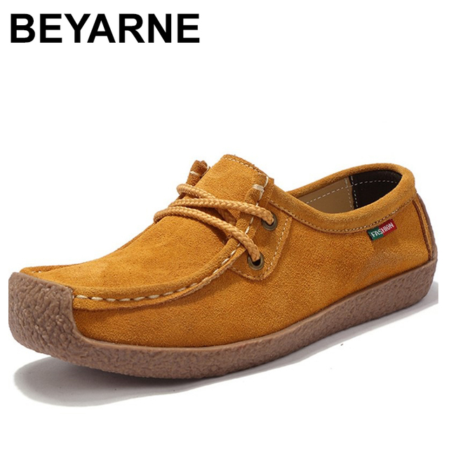 BEYARNE Brand Women Genuine Leather Flat Shoes Lace up Sneakers Autumn Oxford Shoes Female Loafers Casual Suede Flats Stitching