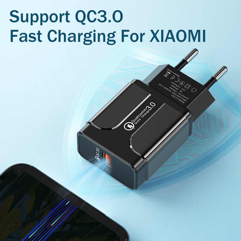 Carga rápida 3,0 18W Qualcomm QC 3,0 4,0 rápido cargador USB portátil de carga de cargador de teléfono móvil para iPhone Samsung xiaomi