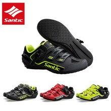 Santic mężczyźni obuwie rowerowe odblaskowe szosowe buty rowerowe gumowa podeszwa profesjonalne sportowe wyścigi trampki Zapatillas Ciclismo
