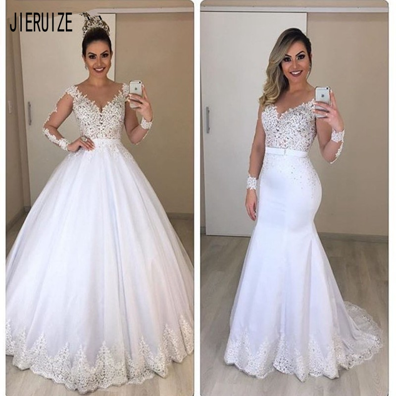 JIERUIZE Vestido De Novia Lace 2 In 1 Mermaid Wedding Dresses Long Sleeves Detachable Train Puffy Tulle Appliques Bridal Gowns