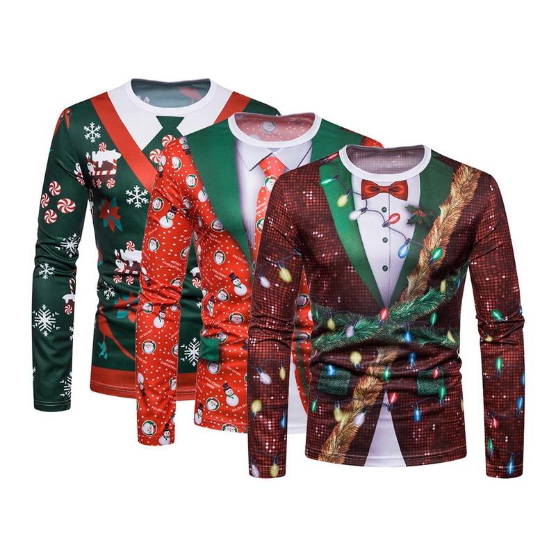 New Christmas Print Men TShirt O Neck long Sleeve Tee Tops Casual Hip Hop 3D Print T-shirt Camisetas Hombre Party Funny T Shirts