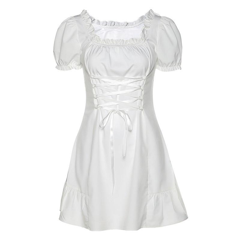 Fashion Elegant Bow White Female Mini Dress Spring Summer Party Birthday Festival Cute Sexy French Romantic Silk Bubble Sleeves 5