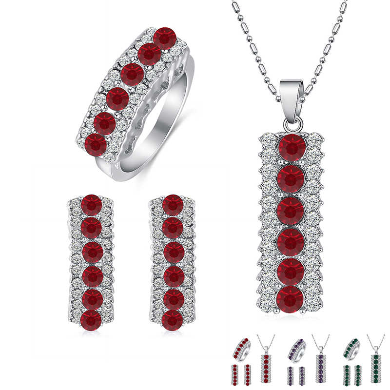 Élégant autriche cristal ensemble de bijoux femmes mode géométrique pendentif collier argent boucle d'oreille bague femme mariage bijoux ensembles