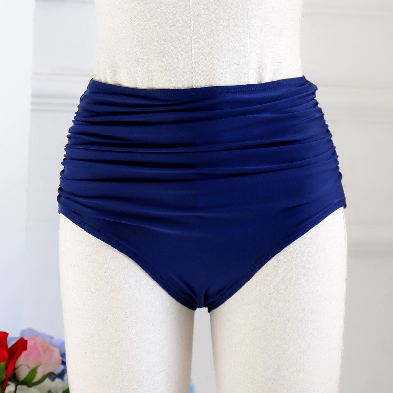 New Style WOMEN'S Swimming Trunks Alone Women's High-waisted Pleated Belly Covering Slimming Triangular Swimming Trunks Bikini V