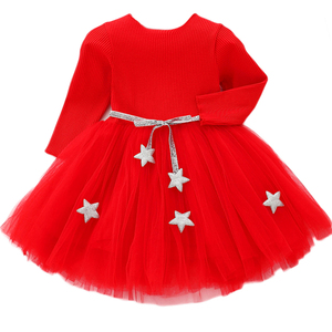 Christmas New Baby Lace Girl Dress 1 2 5 Years Old Winter Kids Girls Vestido birthday party princess dress for children Clothing