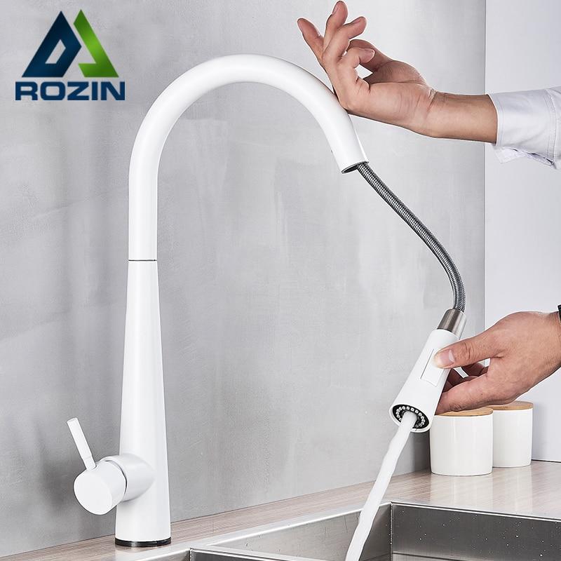 Rozin Touch Sense White Kitchen Faucet White Pull Out Kitchen Mixer Faucets Black Smart Sensor Stream Spray Mode Mixer Taps