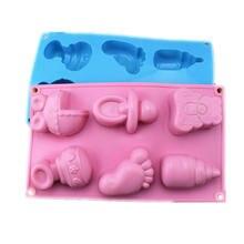2020 quente 6 células pés do bebê e brinquedos moldes de silicone 3d chocolate açúcar doces geléia moldes cupcake festa fondant bolo decoração ferramentas