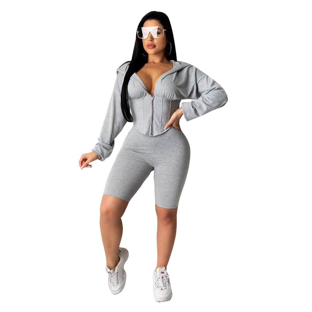 STYLISH Lady 2 Piece Set Sporty Tracksuit 2020 Summer Women Long Sleeve Hooded Corset Tops And Short Set Two Piece Outfits