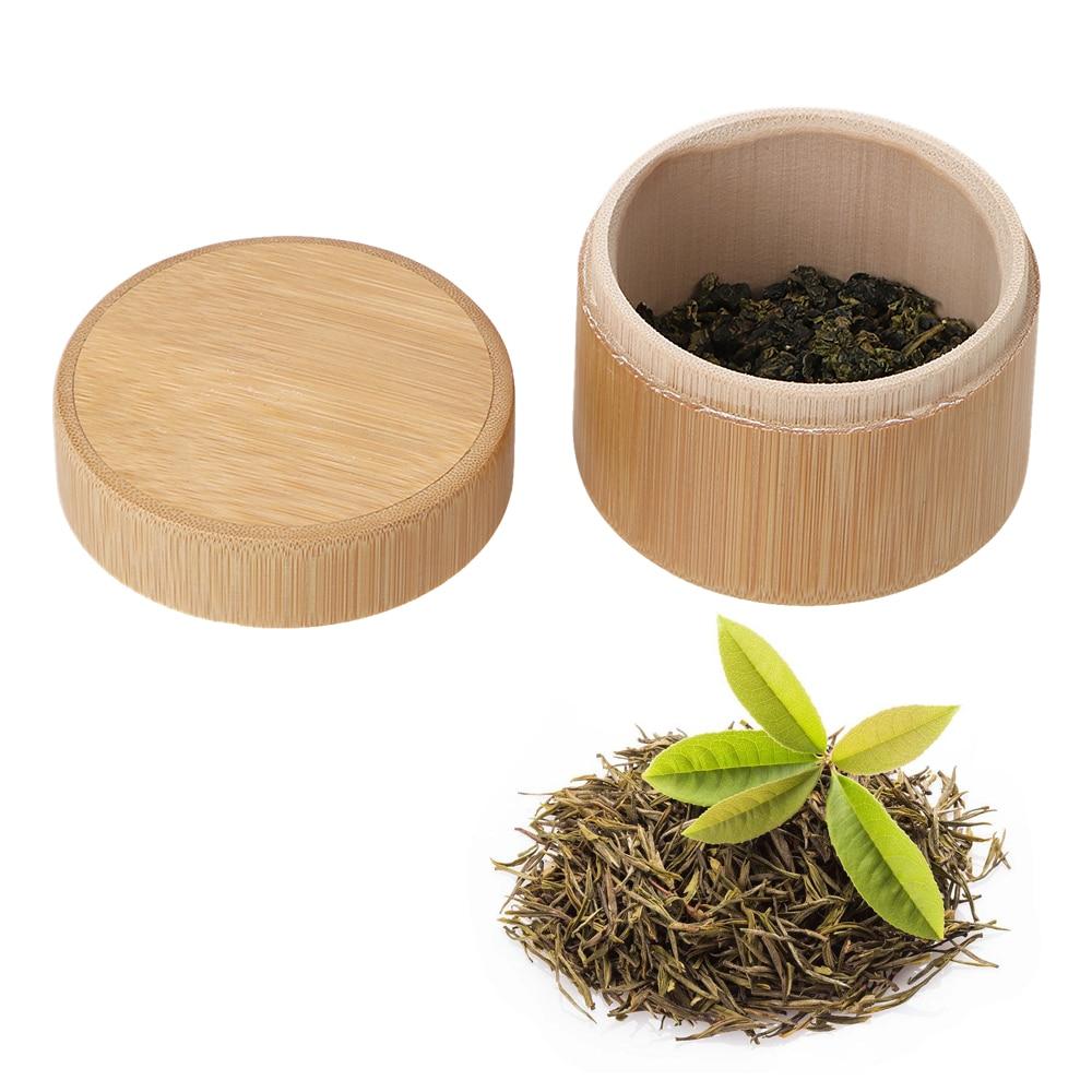 Handmade Natural Tea Jar Storage Holder Round Bamboo Tea Box Wooden Matcha Container Organizer Tea Caddies Mini Portable