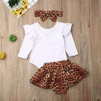Toddler Baby Girl Clothes Long Sleeve letter Romper Tops + Leopard Skirt + Headband Autumn 3PCS Outfits Set 3