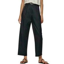 Tangada fashion women navy high quality suit pants trousers pockets office lady business pants pantalon 4C33