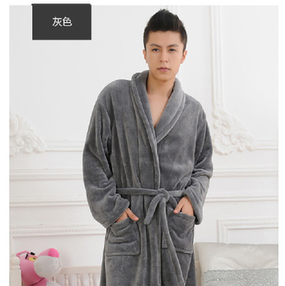 LISN 2018 Autumn And Winter Hot Sale Bathrobe Thick Coral Fleece Flannel Nightgown Men  Women Long-sleeved Pajamas