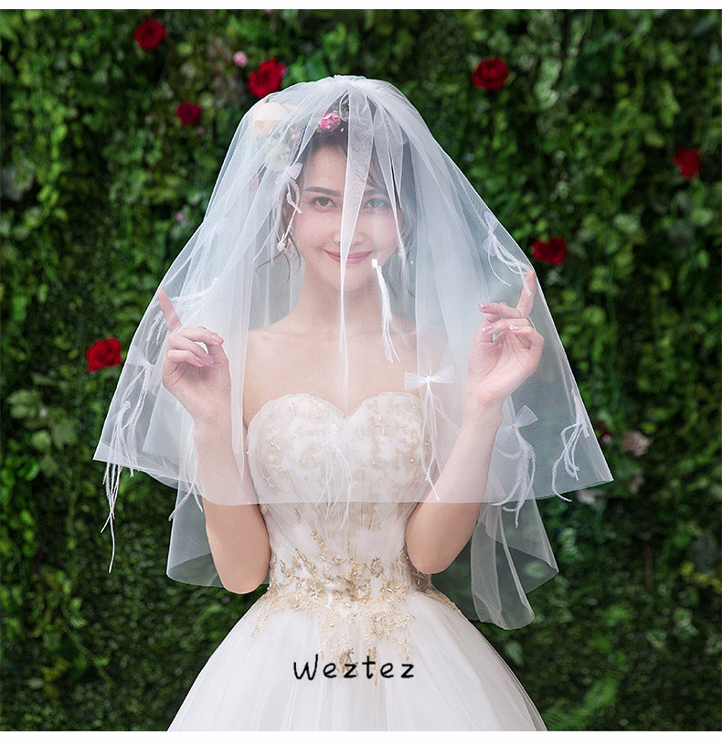 Bridal Veil Simple Two Layers Short Tulle White Wedding Veils For Bride For Mariage Wedding Accessories TS097