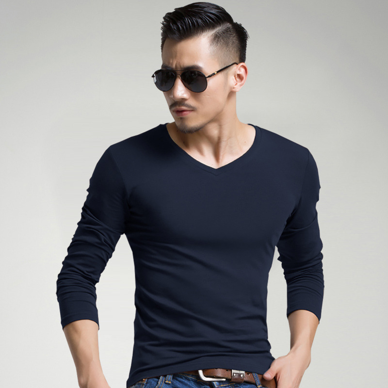 Skin-friendly V-Neck T-Shirt For Men Elastic Long Sleeve Shirt Mens Stretchy Underwear Cosy Jogging Casual Fitness O-Neck Tshirt