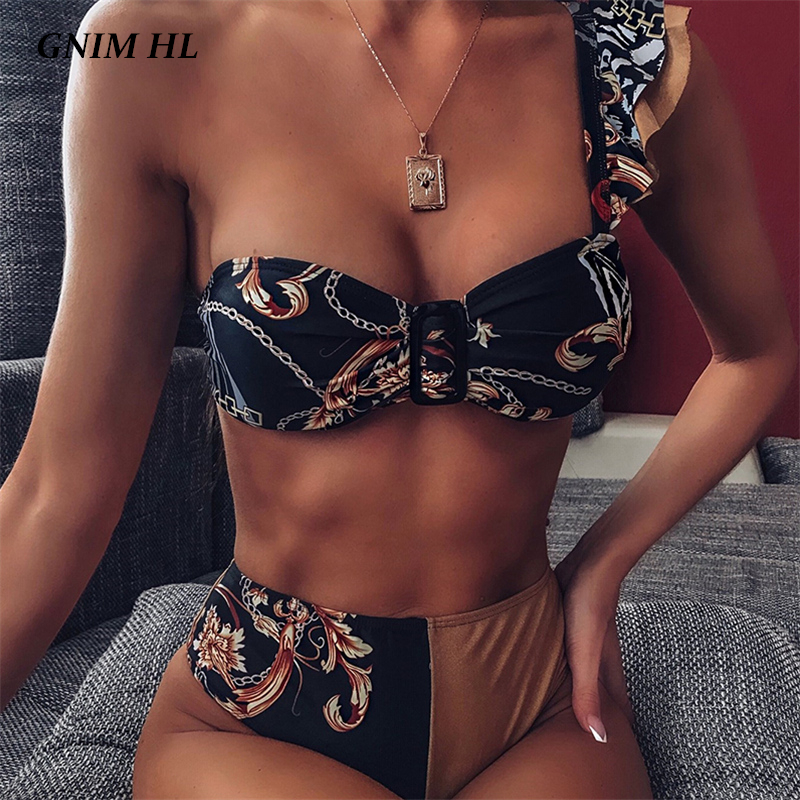 GNIM One Shoulder Ruffle Bikini Mujer 2019 High Waist Swimwear Women Push Up Brazilian Swimsuit Female Two Pieces Biquini Set