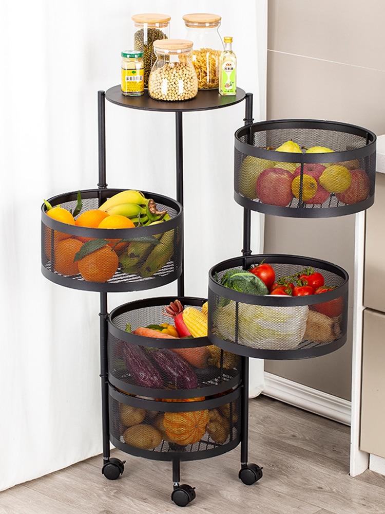 new thickened metal kitchen vegetable basket multi layer rotatable round storage basket storage rack kitchen organizer rack