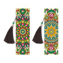 2 PCS Green flowers Diamond Painting Bookmarks-Diamond Painting for Adults 5D DIY Bookmarks with Tassel