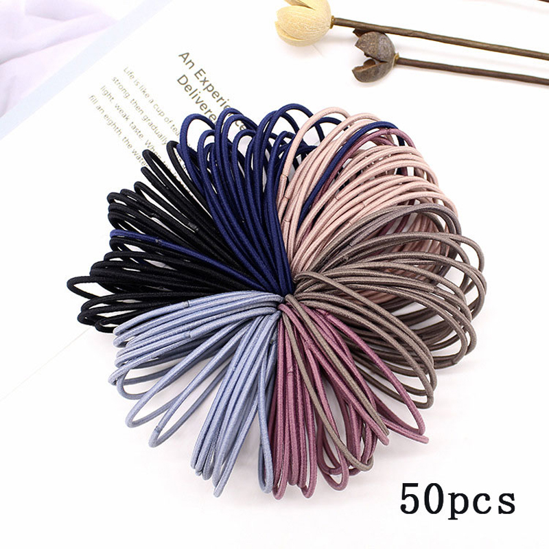 50pcs Lot Nylon Rubber Bands Hair Ties Gum For Hair 5cm Ponytail