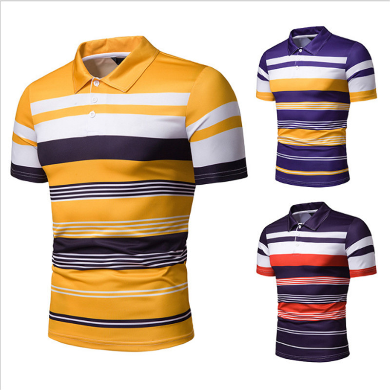 2019 Spring Summer New Fashion   Polo   Top Shirts Men's   Polo   Shirt Shirt High Street Men's Stripe Cotton   Polo   Shirt