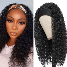 Peruvian Curly Hair Headband Wig 100% Human Hair Wigs 150% Density Remy No Glue Scarf Wig Full Machine Made Wigs For Black Women