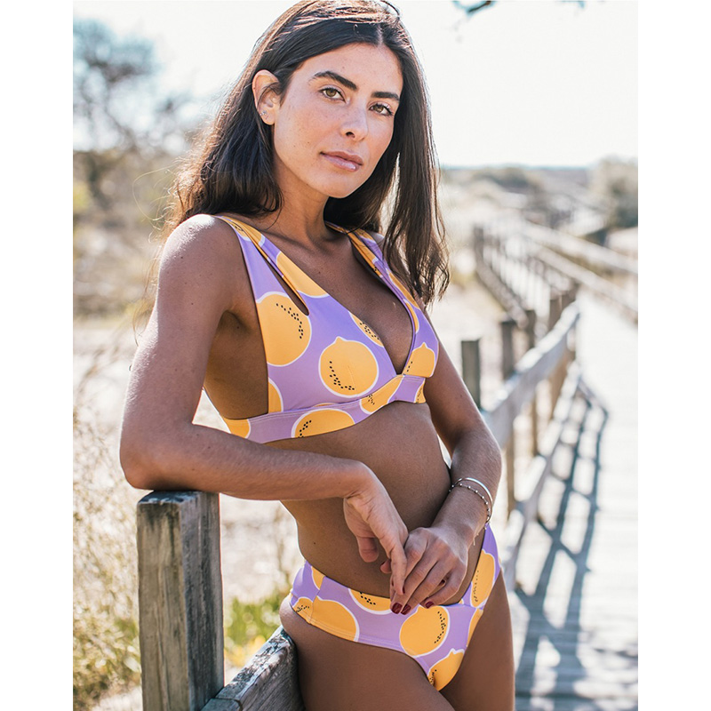 2020 Sexy Brazilian Bikini Swimwear Women Halter Push Up Bikini Set Swimsuit Female Lemon Print Bandage Biquini Bathing Suit XL