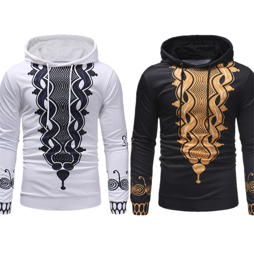 2019 New African Clothes For Mens Hoodies Rich Bazin Dashiki Long Sleeve Thicken Africa Fashion Style Dresses Plus M-3XL