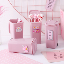 NEW Creative Trash Can Desktop Organizer Pen Holder Desktop Organizer School Office Pencil Holder Organizer Cute Desk Accessorie