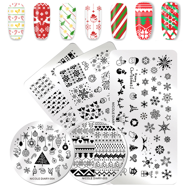 NICOLE DIARY Christmas Series Nail Stamping Template Holloween Series Image Stamp Plate Flower Marble Geometric DIY Stencil Tool
