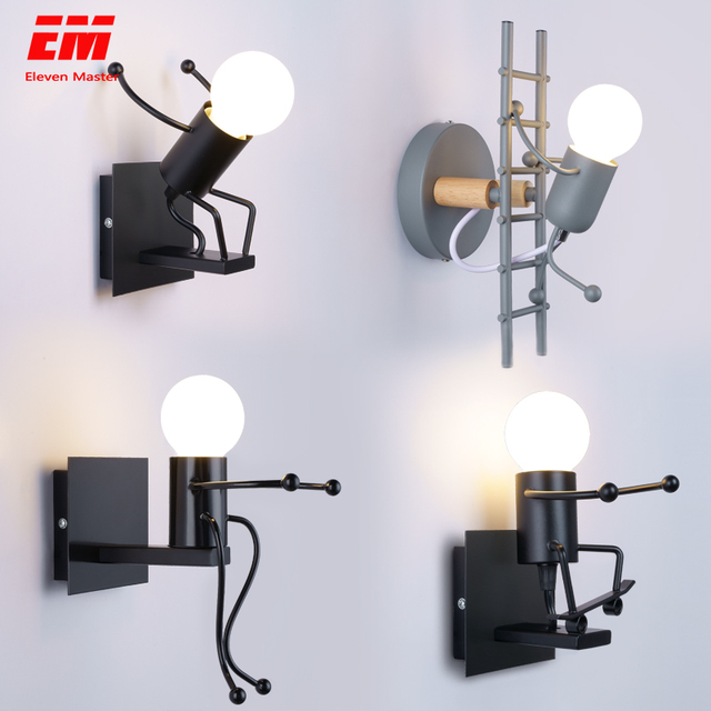 Modern Cartoon Doll Wall Light Fixtures LED Creative Mounted Iron  Bedside Sconce Lamp for Kids Baby Room Living Room ZBD0008 1