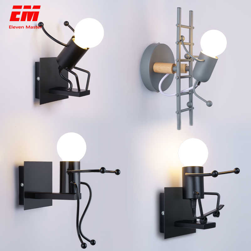 Cartoon Wall Light Fixtures LED Creative Mounted Iron Bedside Lamp Living Room