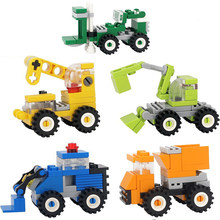 City Construction Engineering Bulldozer Crane Excavator Building Blocks Compatible Legoed Technic Creative Bricks Children Toys(China)