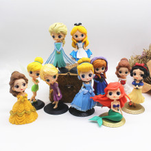 Disneys Princess Action Figure Forzen Elsa Belle Snow White Cinderella Alice Rapunzel Ariel PVC Dolls Model Toys for Girls