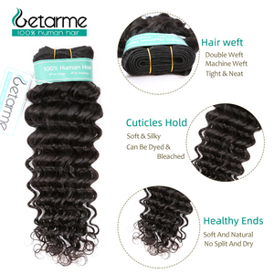 Image 3 - Peruvian Deep Wave Hair 3 Bundles With 4x4 Lace Closure Remy Human Hair Bundles With Closure Free/Middle/Three Part Lace Closure