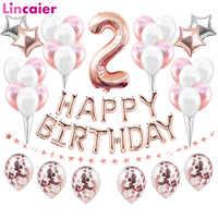 Conjunto de 2 globos de aluminio con número dorado, 37 Uds., 2ª decoraciones para fiesta de cumpleaños, para bebé, niño y niña, 2 años, decoración de feliz cumpleaños, rosa y azul