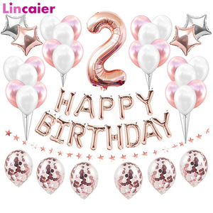 37pcs Rose Gold Number 2 Foil Balloons Set 2nd Birthday Party Decorations Baby Boy Girl 2 Years Happy Birthday Decor Pink Blue
