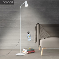 10W Goose Neck White Floor Lamp, 3 Color Temperature and 5 Levels Brightness Bedroom Stand Lamp Lighting with Remote Contro