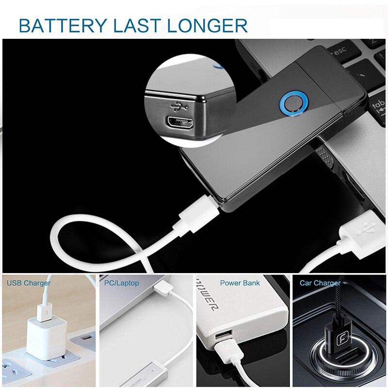 Двойной для Плазменно дуговой зажигалки USB Перезаряжаемый ветрозащитный негорящий Электрический Зажигалка для сигар свечи сигарет 10 шт./па... - 4