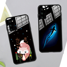 For Huawei Honor Play 4t Pro 3 Case Black Cartoon Fox Hard Tempered Glass back silicone Cover For Honor Play 3 4t magic 2 Casing 4t