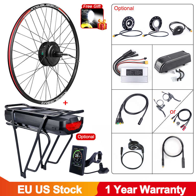Bafang-Kit de conversión de bicicleta eléctrica, 48V, 500W, rueda de Motor trasero, Cassette de CC, batería de litio, estante trasero de 17.5Ah