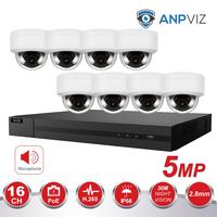 16ch 5MP Dome IP Camera NVR KIT H.265 Hikvision OEM POE 4K NVR 8/16pcs Outdoor POE Video Surveillance Audio Cameras