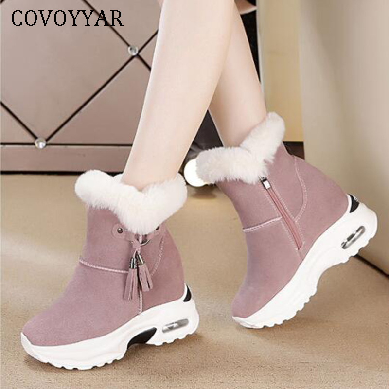 COVOYYAR 2019 Winter Fur Lady Platform Sneakers Warm Plush Wedge Women Shoes Geniune Leather Rabbit Fur Ankle Boots WSN330