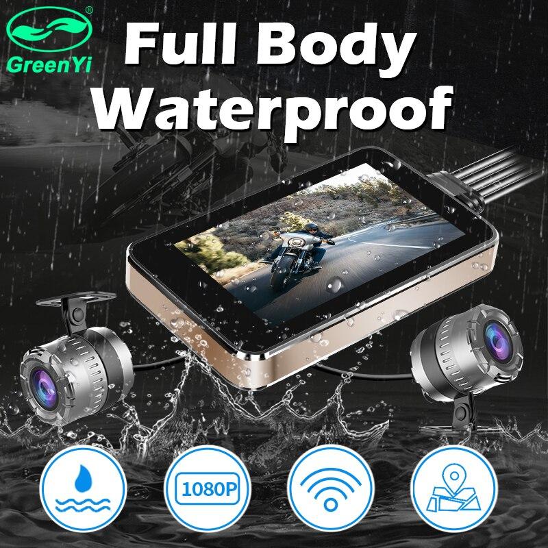 Greenyi GPS Logger Recorder-Box Motorcycle Dvr Dash-Cam Waterproof Wifi Rear-View 1080P